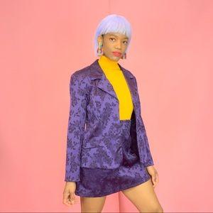 1990's Vintage Floral Brocade Blazer & Skirt Set